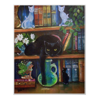 Fairy hiding ina book case from Cat Poster