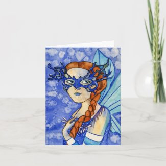 Fairy in a Blue Mask Greeting Card