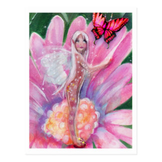 Fairy in a Daisy, Butterfly Postcard