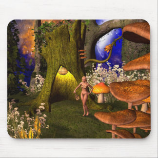 Fairy in a mushroom forest in the night mouse pad