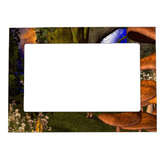 Fairy in a mushroom forest picture frame magnet