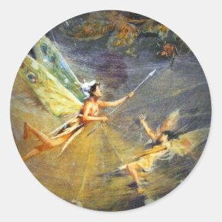 Fairy in a Spiderweb Classic Round Sticker