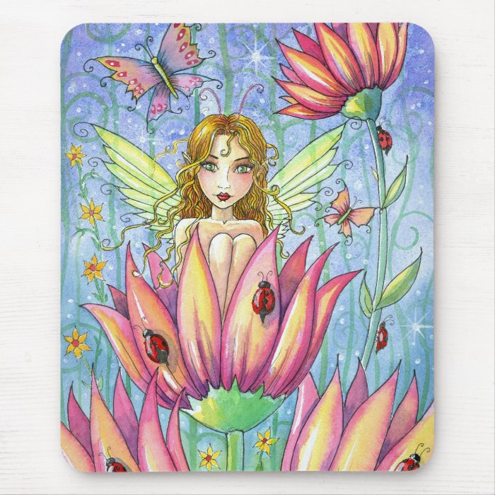 Fairy in Pink Flower Mousepad by Molly Harrison