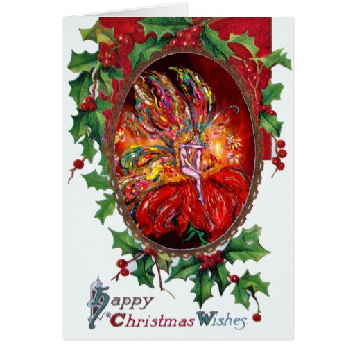 FAIRY IN RED, Happy Christmas Wishes Greeting Card