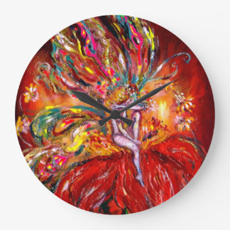 FAIRY IN RED LARGE CLOCK
