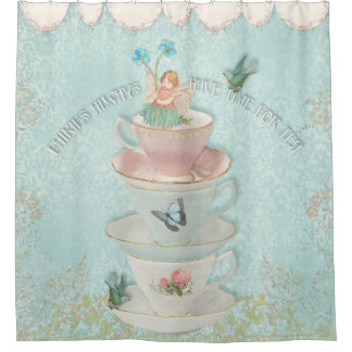 Fairy in Stacked Teacups w Birds Little Girl Decor Shower Curtain