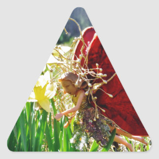 Fairy in the flowers triangle sticker