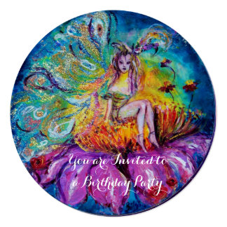 FAIRY IN THE NIGHT gold yellow blue red sparkles Invites