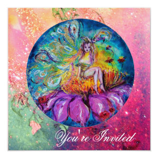 FAIRY IN THE NIGHT pink green blue yellow sparkles Personalized Announcements