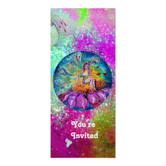 FAIRY IN THE NIGHT,pink purple blue green sparkle Card