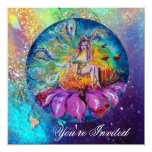 FAIRY IN THE NIGHT ,pink yellow blue  red sparkles Personalized Invite