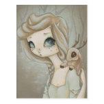 Fairy Jackalope - fantasy fairy art postcard