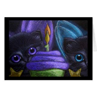 FAIRY KITTENS CATS - HAPPY BIRTHDAY GREETING CARD