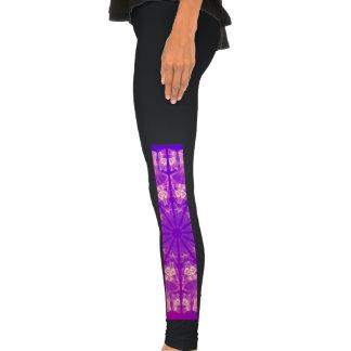 Fairy Lace Mandala Delicate Abstract Cream Violet Leggings