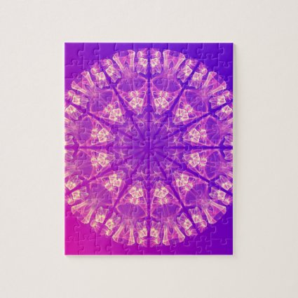 Fairy Lace Mandala Delicate Abstract Cream Violet Jigsaw Puzzles