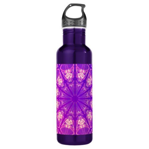 Fairy Lace Mandala Delicate Abstract Cream Violet Stainless Steel Water Bottle