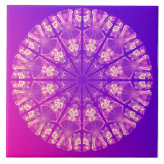 Fairy Lace Mandala Delicate Abstract Cream Violet Ceramic Tile