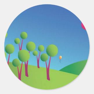 Fairy landscape classic round sticker