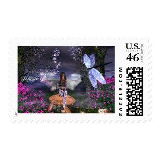Fairy LavenderGlitter Postage Stamp