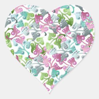 Fairy Leaf Pattern Heart Sticker