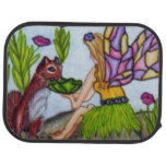 Fairy Leaves Squirrel Stained Glass Wings Car Mat