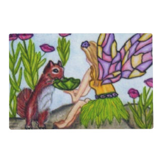 Fairy Leaves Squirrel Stained Glass Wings Placemat
