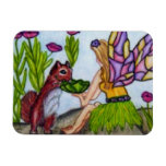 Fairy Leaves Squirrel Stained Glass Wings Rectangular Photo Magnet