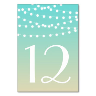 Fairy Lights | Beach Ombre Table Numbers Card