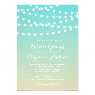 Fairy Lights | Ombre Beach Wedding Invitation