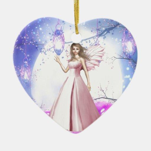 Fairy Lights Double-Sided Heart Ceramic Christmas Ornament