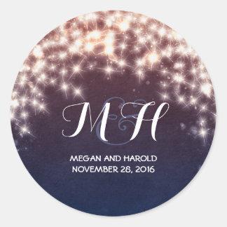 Fairy Lights Rustic Wedding Classic Round Sticker