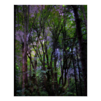 Fairy Lights Surreal Forest Poster Print