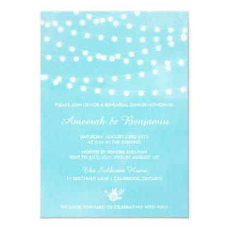 Fairy Lights Turquoise Rehearsal Dinner Invitation