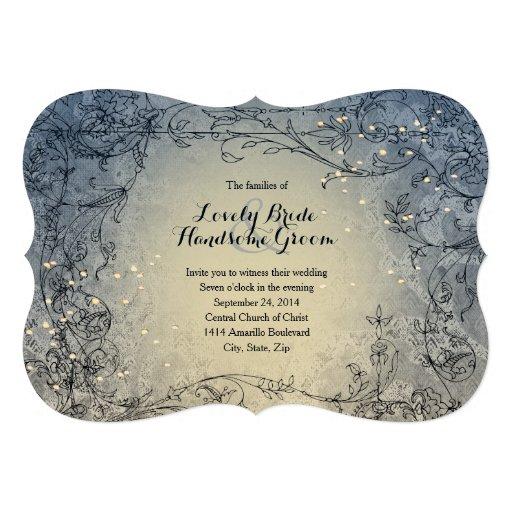 Fairy Lights Whimsy Blue Wedding Invitation Invite