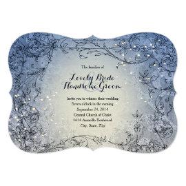 Fairy Lights Whimsy Blue Wedding Invitation 5
