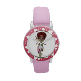 Fairy magic faerie in a pink and green dress wrist watch