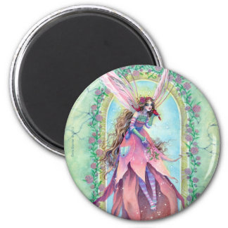 Fairy Magnet Round - Cardinal Bird and Roses