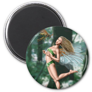 Fairy meeting wasp in woods 2 inch round magnet