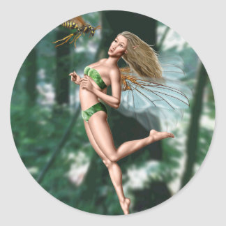 Fairy meeting wasp in woods classic round sticker