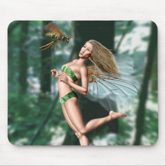 Fairy meeting wasp in woods mouse pad