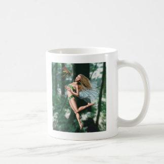 Fairy meeting wasp in woods mug
