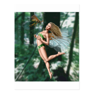 Fairy meeting wasp in woods postcard