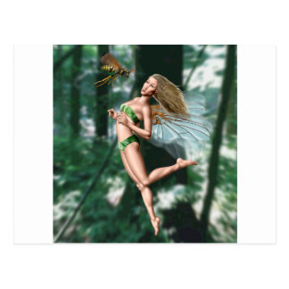 Fairy meeting wasp in woods postcards