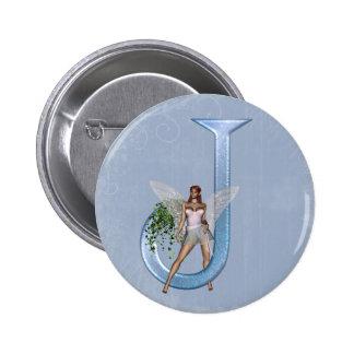 Fairy Monogram J 2 Inch Round Button
