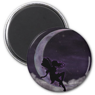 Fairy Moon 2 Inch Round Magnet