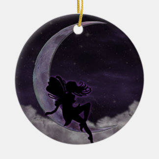 Fairy Moon Double-Sided Ceramic Round Christmas Ornament