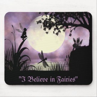 Fairy moonlit pond Mousepad
