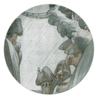 Fairy Mushroom Village Melamine Plate