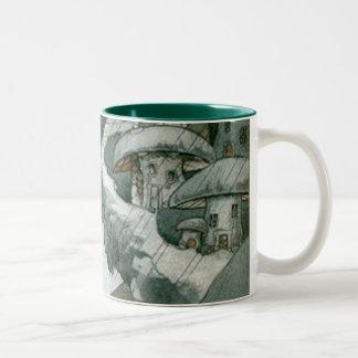 Fairy Mushroom Village Two-Tone Coffee Mug