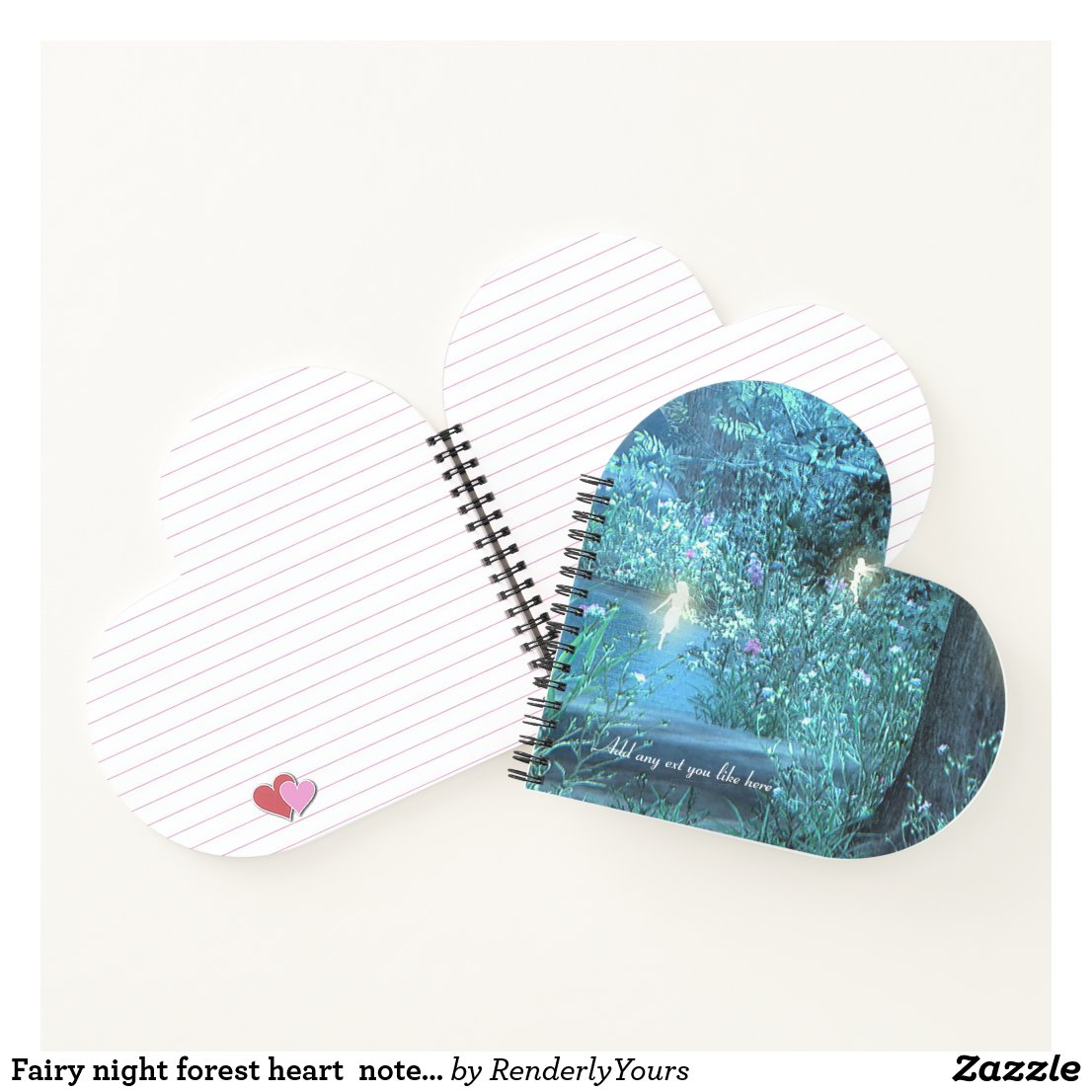Fairy night forest heart notebook